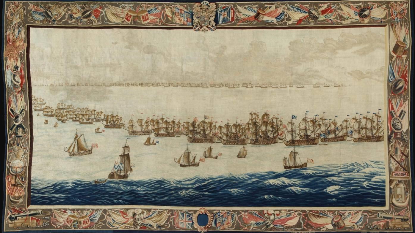 The Fleets drawn up for Battle, geweven naar een ontwerp van Willem van de Velde de Oude, 5,87 x 3,30 meter, geweven na 1685. (Scheepvaartmuseum Amsterdam)