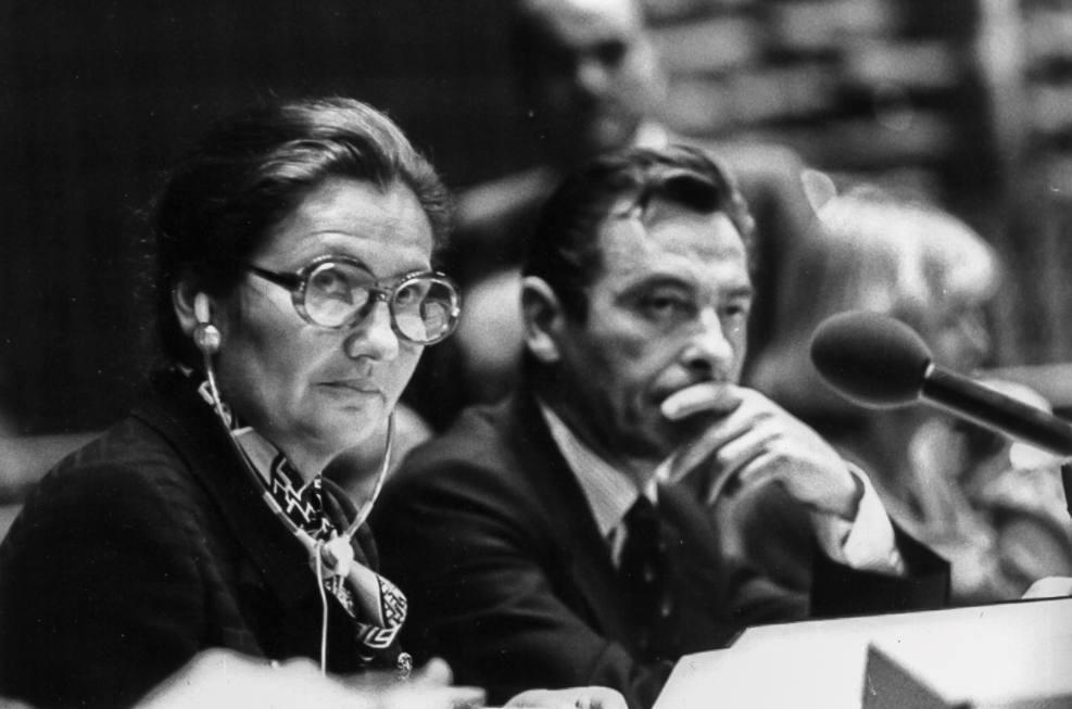 Simone Veil tijdens een zitting van het Europees parlement in Straatsburg in 1979.