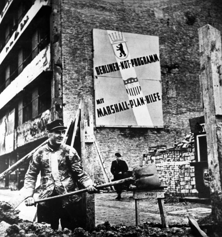 Poster voor het Marshallplan in West-Berlijn, 1949