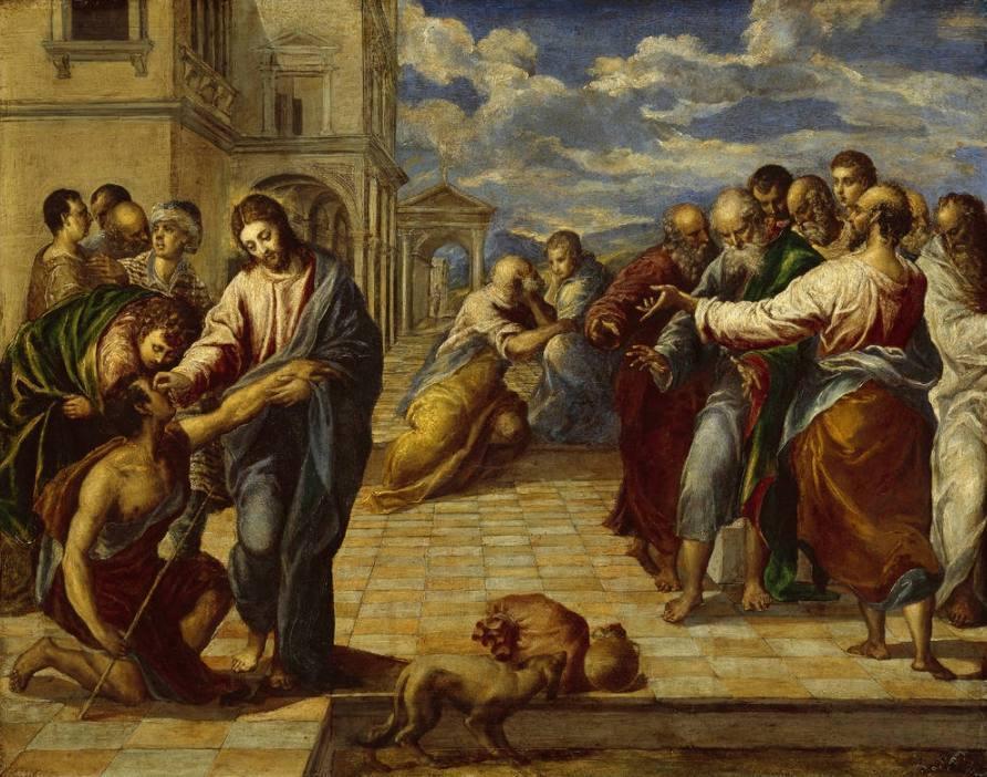 Jezus geneest een blinde man - El Greco, tussen 1570 en 1575