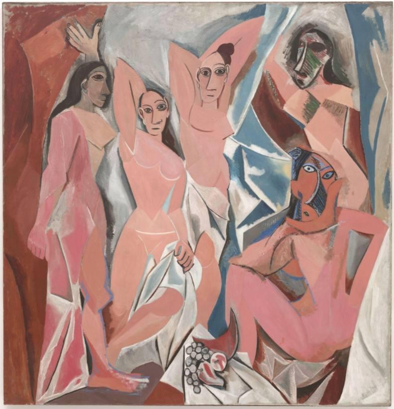 Les Demoiselles d'Avignon - Pablo Picasso, 1907 - Grotendeels geïnspireerd op El Greco's 'Visioen van de Apocalyps'