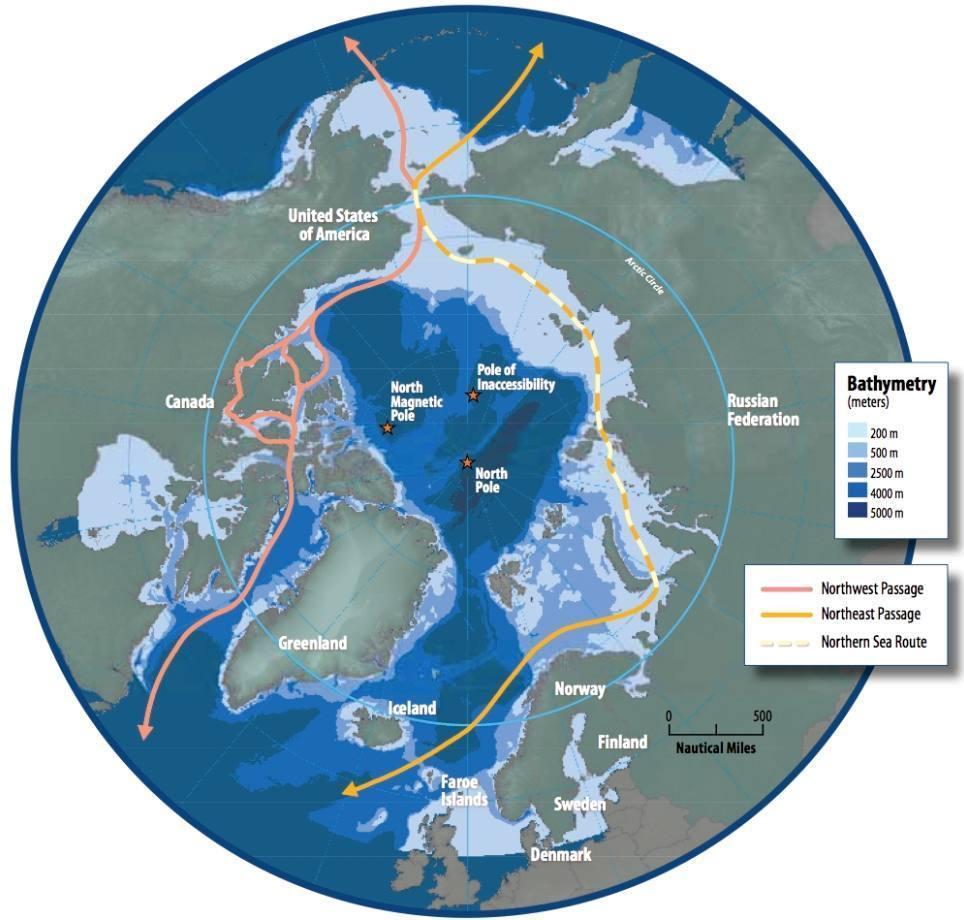 De Noordelijke Doorvaart die, door temperatuurverandering steeds verder open komt te liggen en grote economische kansen biedt.