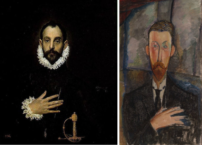 Ridder met hand op de borst van El Greco, met daarnaast een portret van Paul Alexandre door Modigliani