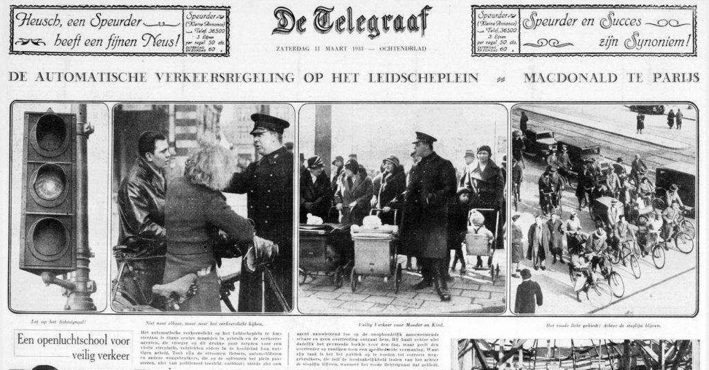 Bericht over automatische verkeersregeling op het Leidscheplein in Amsterdam in de Telegraaf van 11 maart 1933