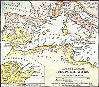 Kaart om de punische oorlog te illustreren. Bron: cc/publiek domein