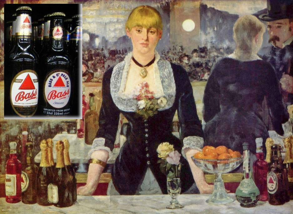 Het schilderij van Manet met rechtsonder een fles Bass-bier. Linksboven een foto van een modern flesje van dit biermerk