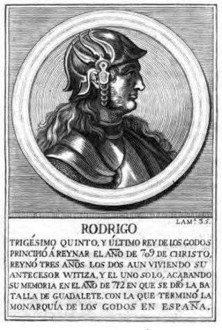 Roderic (Rodrigo), de laatste koning van de Visigoten in Spanje.  Publiek domein/wiki