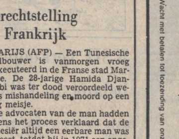 Bericht over de executie van Hamida Djandoubi in Het Parool, 10-09-1977