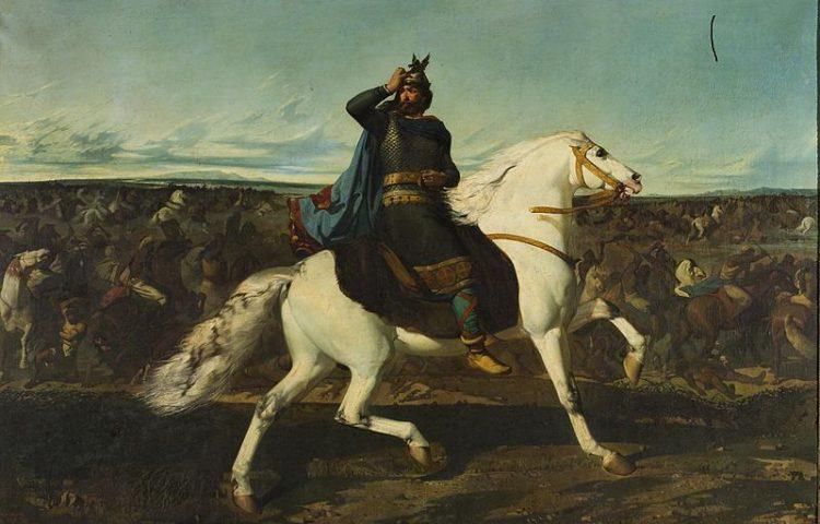 Roderic tijdens de Slag van Guadelete. Publiek domein/wiki