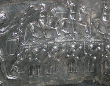 Deel van afbeelding van Cernunnos op de Ketel van Gundestrup