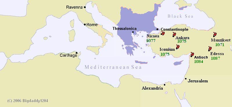 Het Byzantijnse Rijk verloor bijna al het Aziatische grondgebied