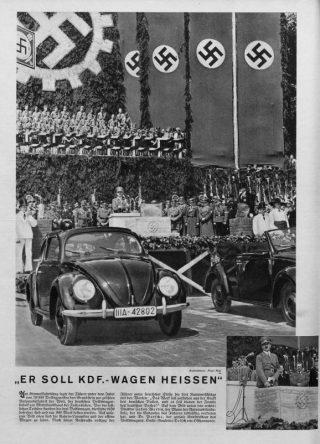 Cover van de Volkischer Beobachter van 5 juni 1938 over de eerstesteenlegging van de Volkswagenfabriek waar Hitler de Volkswagen tot KdF-Wagen doopt.