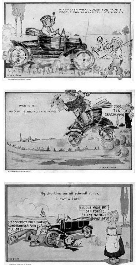 Ansichtkaarten met cartoontekeningen ven Cobb T. Shinn uit 1916 waarop de T-Ford onder meer wordt uitgemaakt voor 'wegluis' en 'blikken sprinkhaan'.