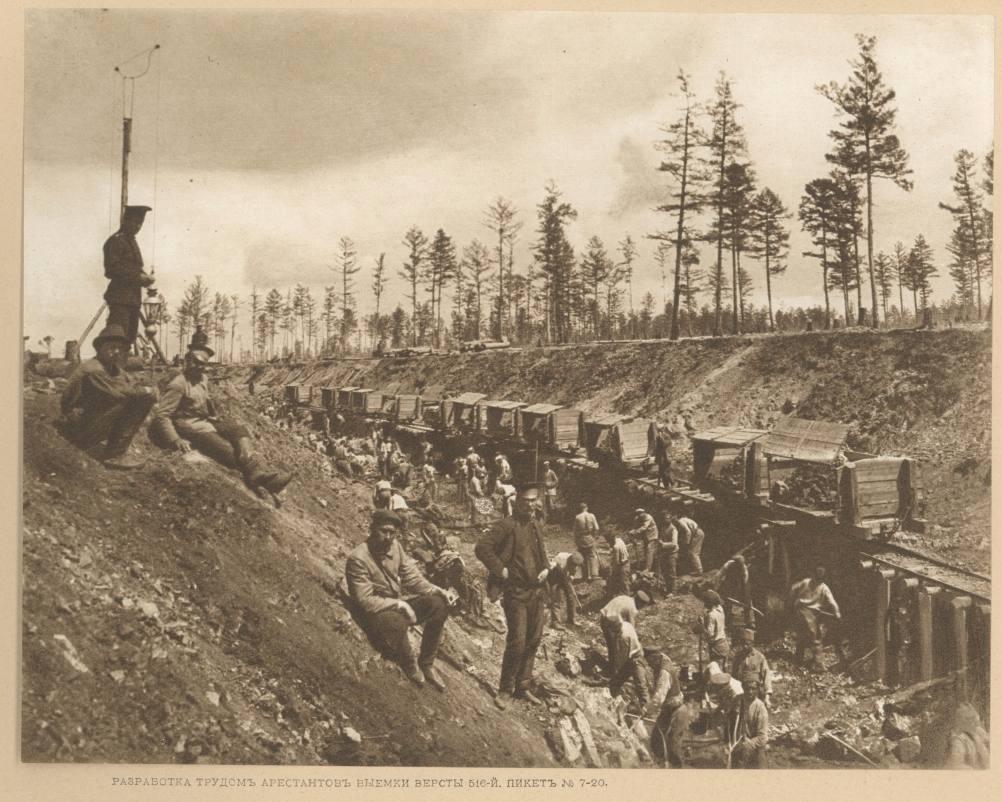 Russische gevangenen werken aan de Transsiberische spoorlijn