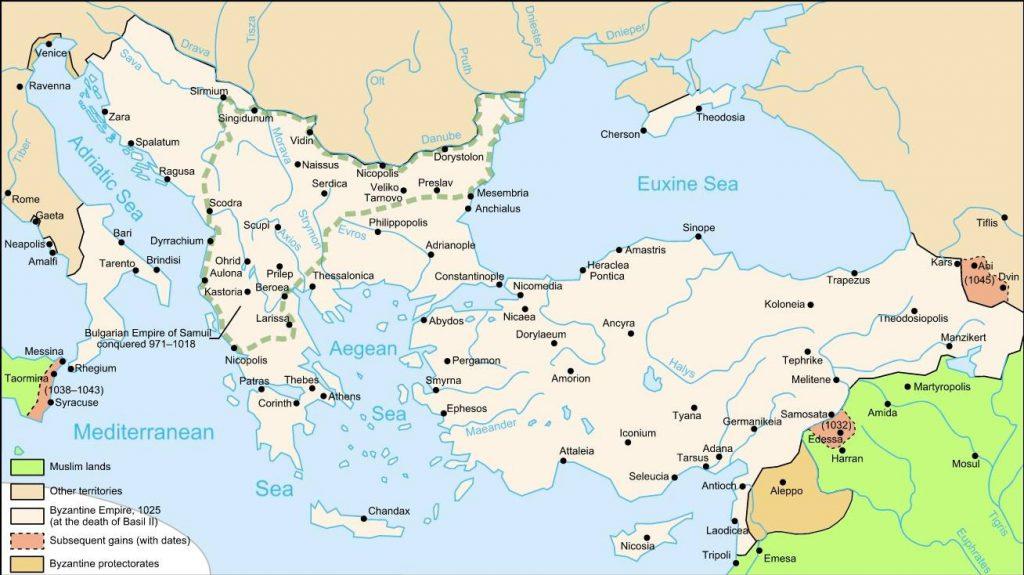 Byzantium bij de dood van Basileios II in 1025