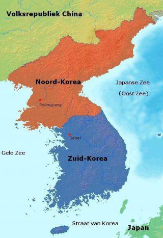 Kaart van Korea - Bron: Wikipedia Commons, 2009. CC0
