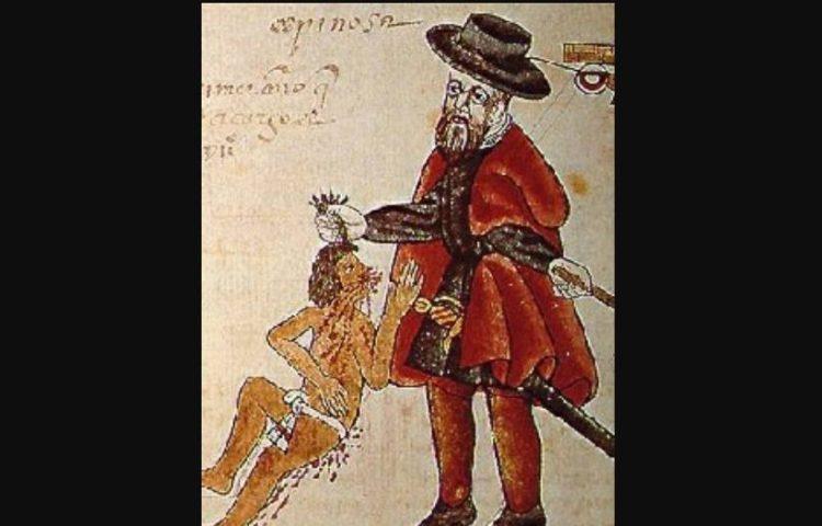 Encomienda - Een encomendero mishandelt een protesterende indiaan