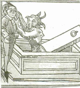 Afbeelding van een vampier die een christen aanvalt - 15e eeuw, Duitsland