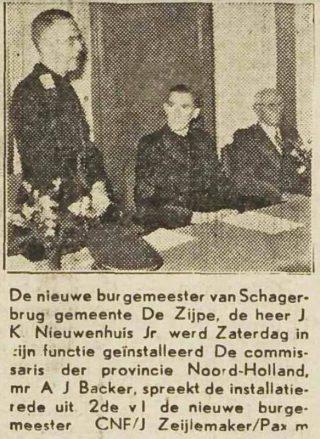 Nieuwenhuis tijdens installatie als burgemeester van Zijpe – Dagblad voor Noord-Holland van 22 december 1943