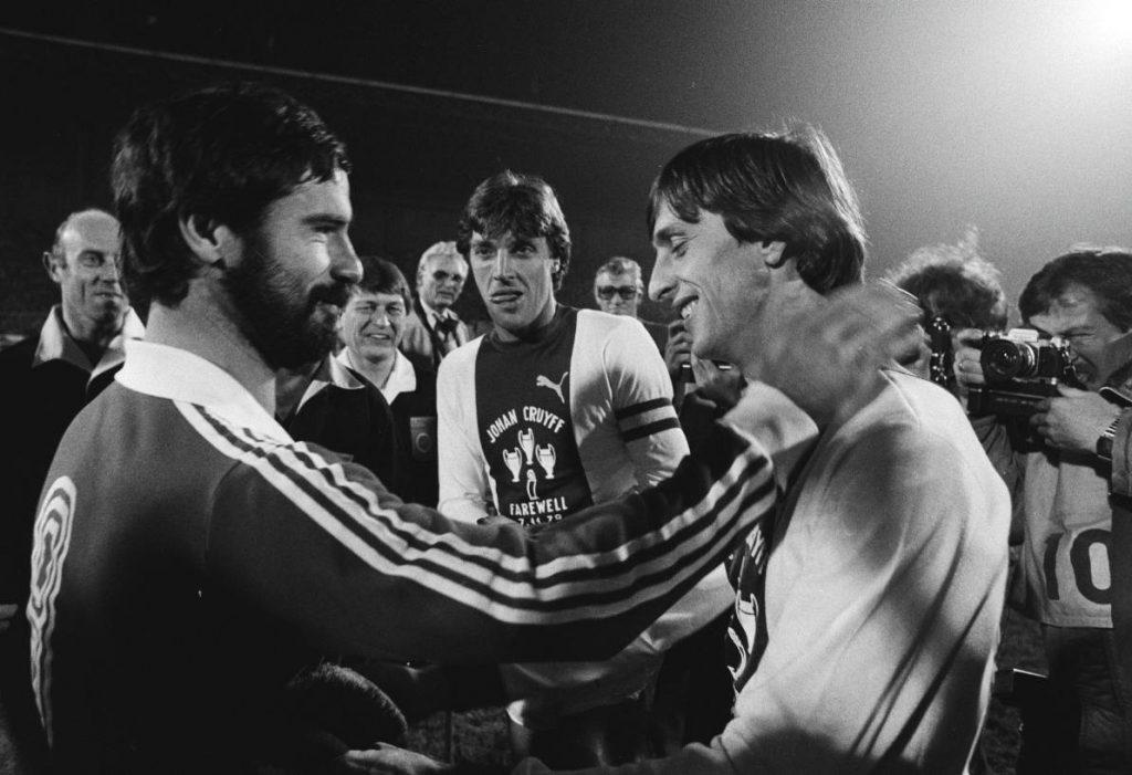 Cruijff met Gerd Muller, 7 november 1978