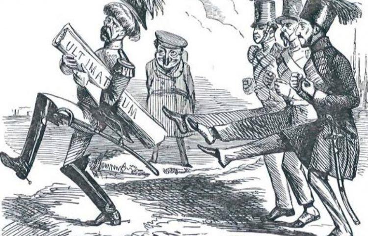 Ultimatum - Negentiende-eeuwse cartoon naar aanleiding van onderhandeling tussen Rusland en het Ottomaanse Rijk