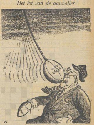 Cartoon in de krant De Waarheid naar aanleiding van de Korea-oorlog, 01-07-1950 (Delpher)