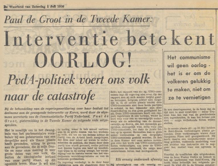 Paul de Groot in partijkrant De Waarheid, 01-07-1950 (Delpher)