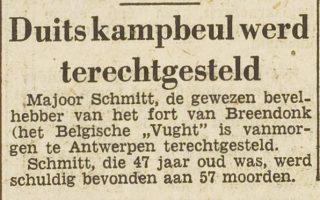 Bericht over de terechtstelling van Philipp Schmitt in 'Het vrije volk' van 9 augustus 1950