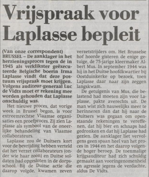 Bericht over het herzieningsproces Irma Laplasse in Het Parool van 13-12-1995 (Delpher)