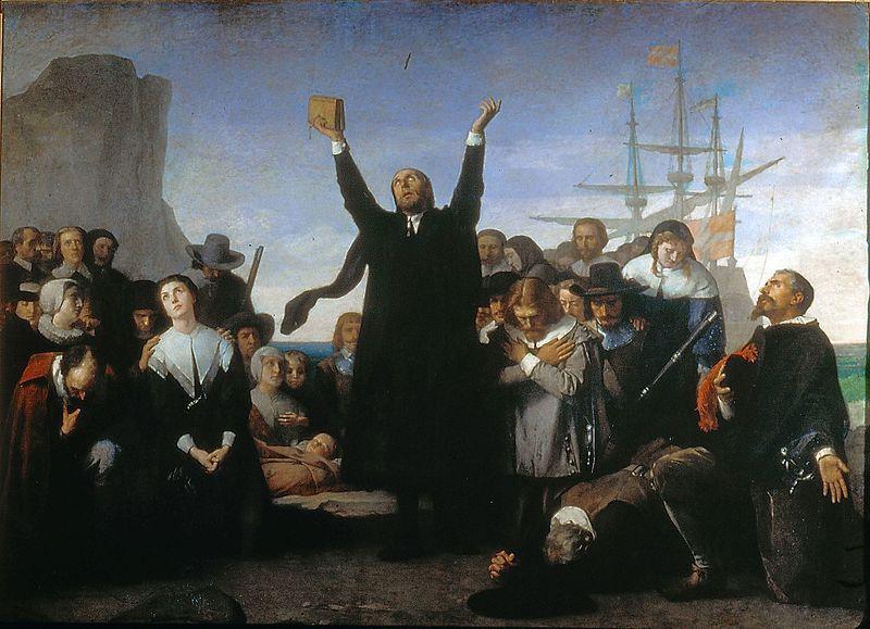 De aankomst van de Pilgrim Fathers in Amerika, door Antonio Gisbert (Publiek domein/wiki)