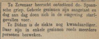 Bericht over de Spaanse Griep in Zevenaar - Bredasche courant, 1918