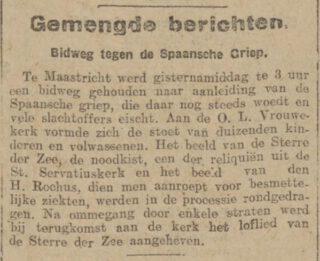 'Bidweg tegen de Spaansche Griep' - Bericht in het Algemeen Handelsblad van 26-11-1918