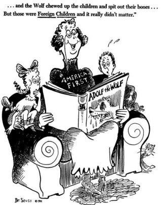 Cartoon tégen de America First-beweging - Dr. Seuss