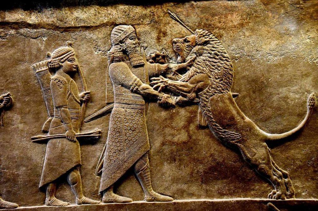 De Assyrische koning Ashurbanipal tijdens de leeuwenjacht