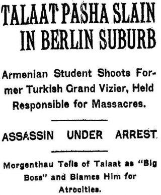 Bericht in de New York Times van 16 maart 1921 over de moord op Talaat Pasha