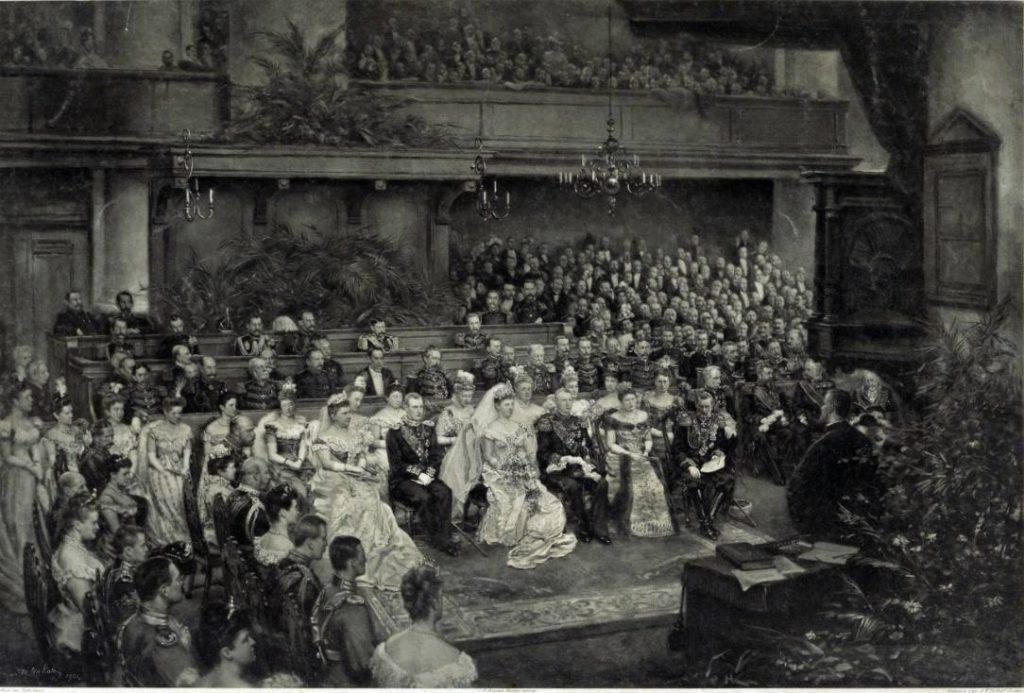 Inzegening van het huwelijk van Koningin Wilhelmina der Nederlanden en Hertog Hendrik van Mecklenburg-Schwerin in de Grote Kerk te Den Haag op 7 februari 1901