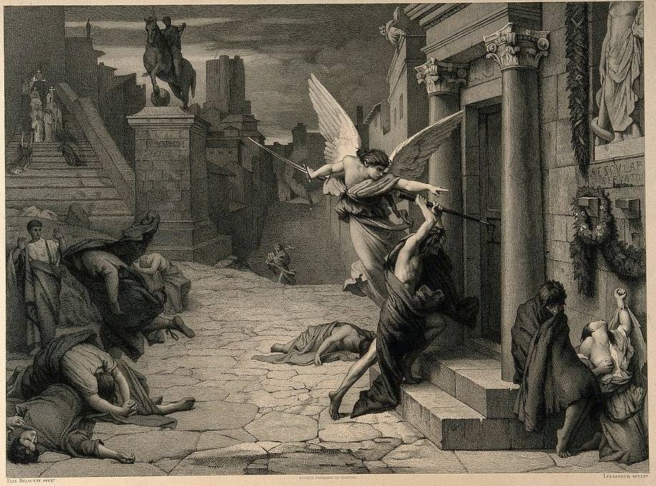 De engel des doods slaat op een deur tijdens de plaag van Rome. Gravure van Levasseur naar Jules-Elie Delaunay