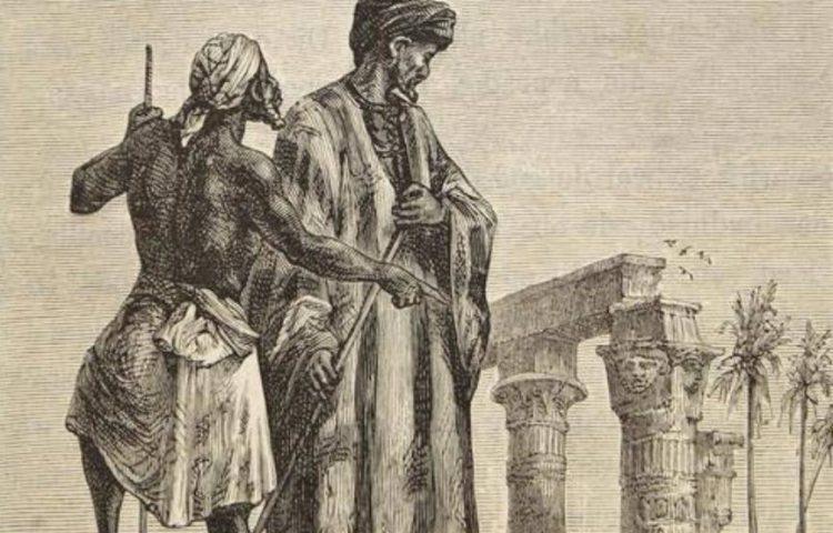 Ibn Battuta in Egypte, getekend door Léon Benett voor het boek Découverte de la terre van Jules Verne