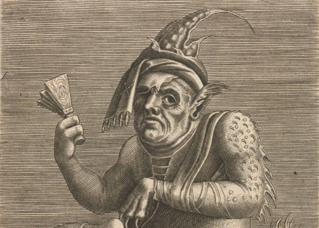 Leprozenbedelaar als duivel op een anonieme 16e-eeuwse gravure.
