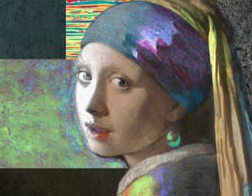 Samengesteld beeld van het Meisje met de parel uit beelden die tijdens het project het Meisje in de Schijnwerper zijn gemaakt. [Sylvain Fleur en het Meisje in de Schijnwerper team]