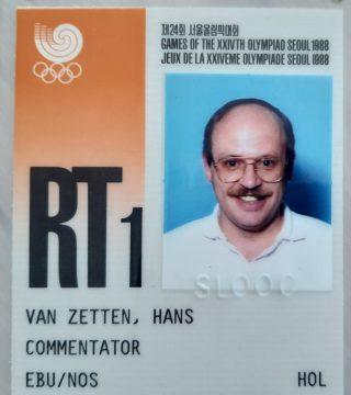 Eerste persaccreditatie van Hans van Zetten als televisiecommentator. Olympische Spelen  1988, Seoul