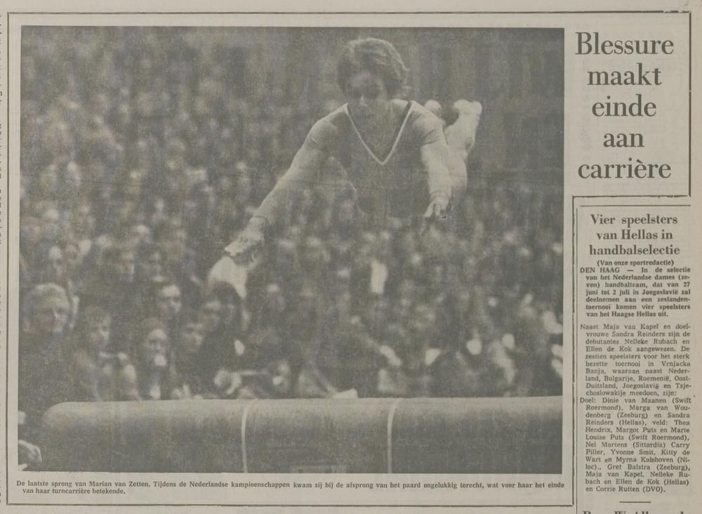 Bericht in de Leidse Courant van 21 juni 1972 oer de dramatische laatste oefening van Marianne van Zetten