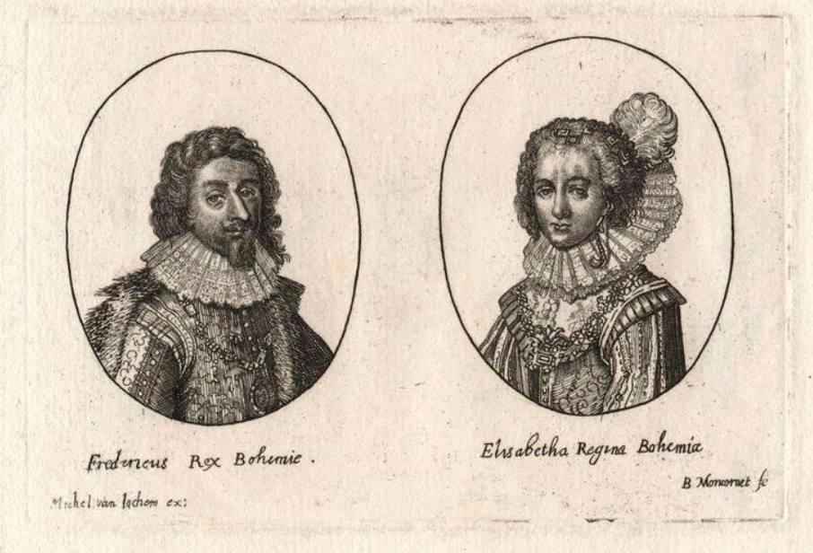 Gravure van Frederik V en Elizabeth Stuart als koning en koningin van Bohemen - Balthasar Moncornet, 1620