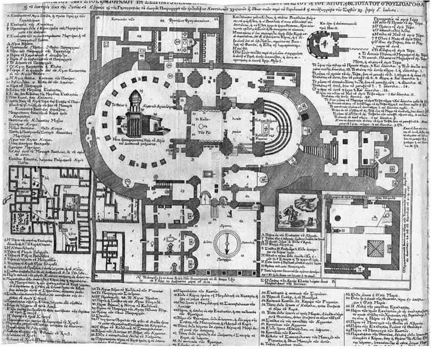 De ingewikkelde plattegrond van de Heilig Grafkerk in Jeruzalem