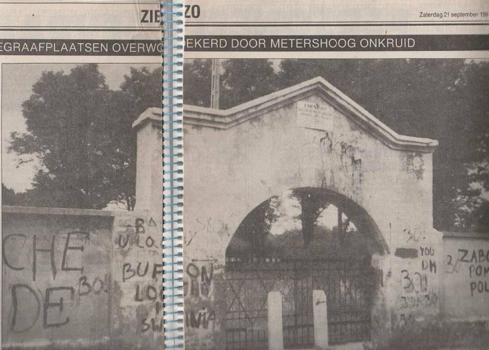 Artikel over de verwaarloosde begraafplaats in de Apeldoornse Courant van 1991