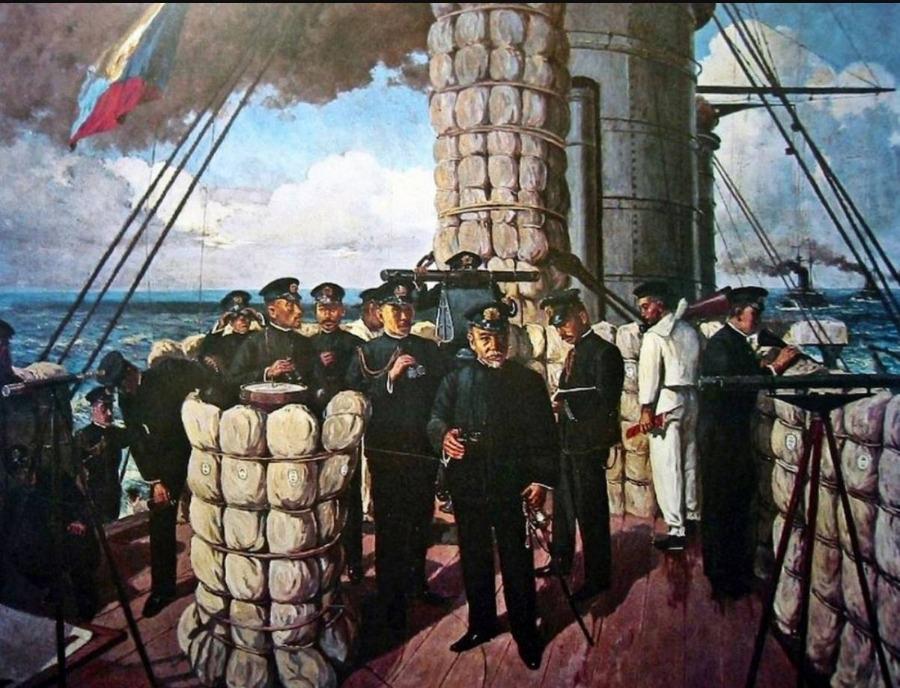Admiraal Togo op de brug van het Japanse slagschip Mikasa, aan het begin van de Slag bij Tsushima in 1905