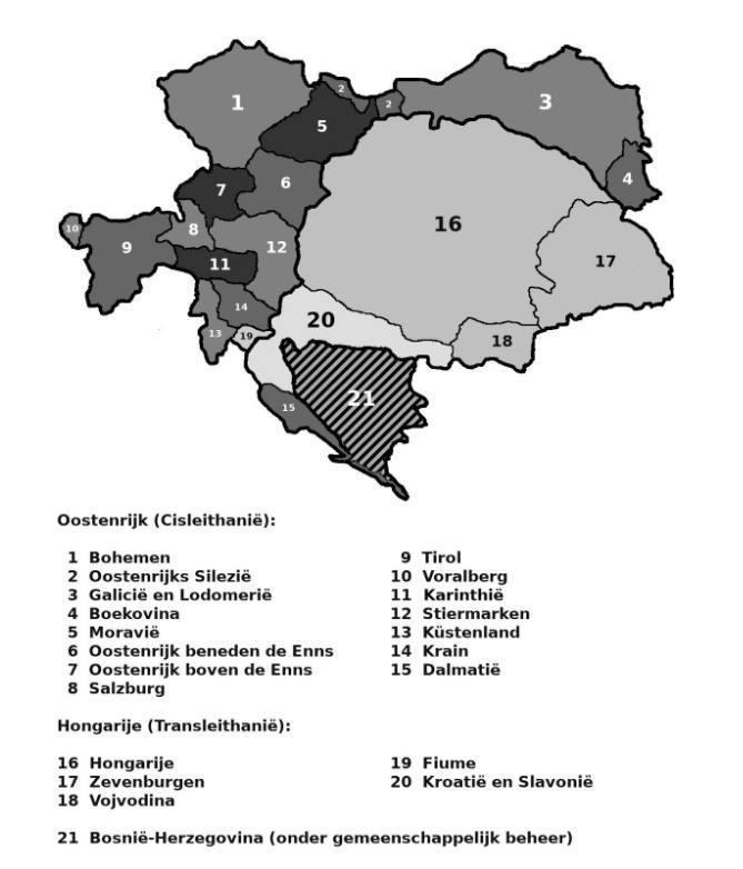 Kaart: Het Oostenrijks-Habsburgse rijk in 1908
