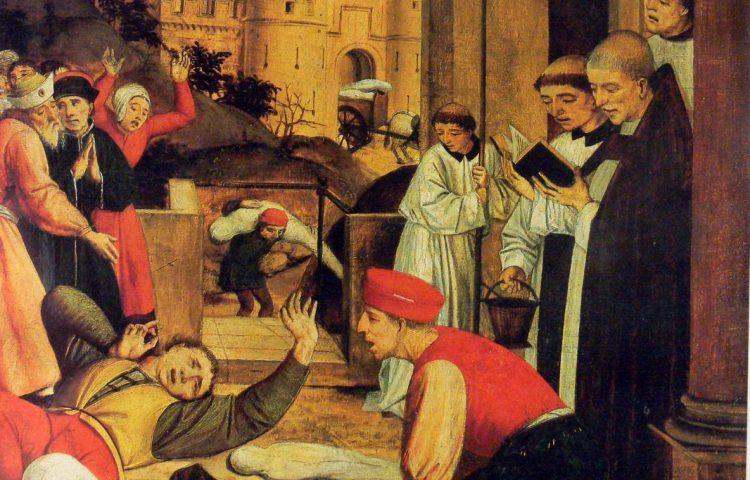 De heilige Sebastiaan bidt voor de pestlijders - Josse Lieferinxe