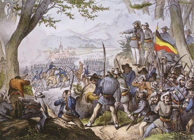 De Badense revolutie - Verbeelding van de strijd van 20 april 1848
