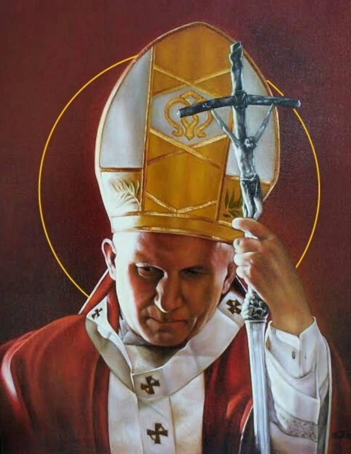 Portret van paus Johannes Paulus II door Mahto Hogue, 2009